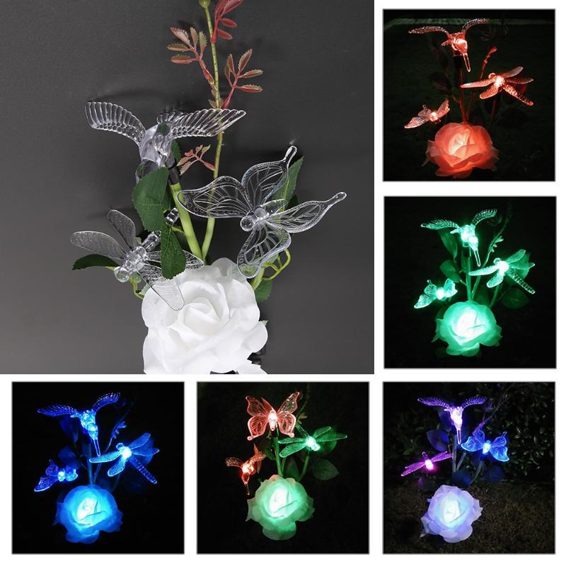Flower Bird Solar-powered Lamps 4 LED Outdoor Solar Garden Light Waterproof Outdoor Garden Decoration Holiday Lights