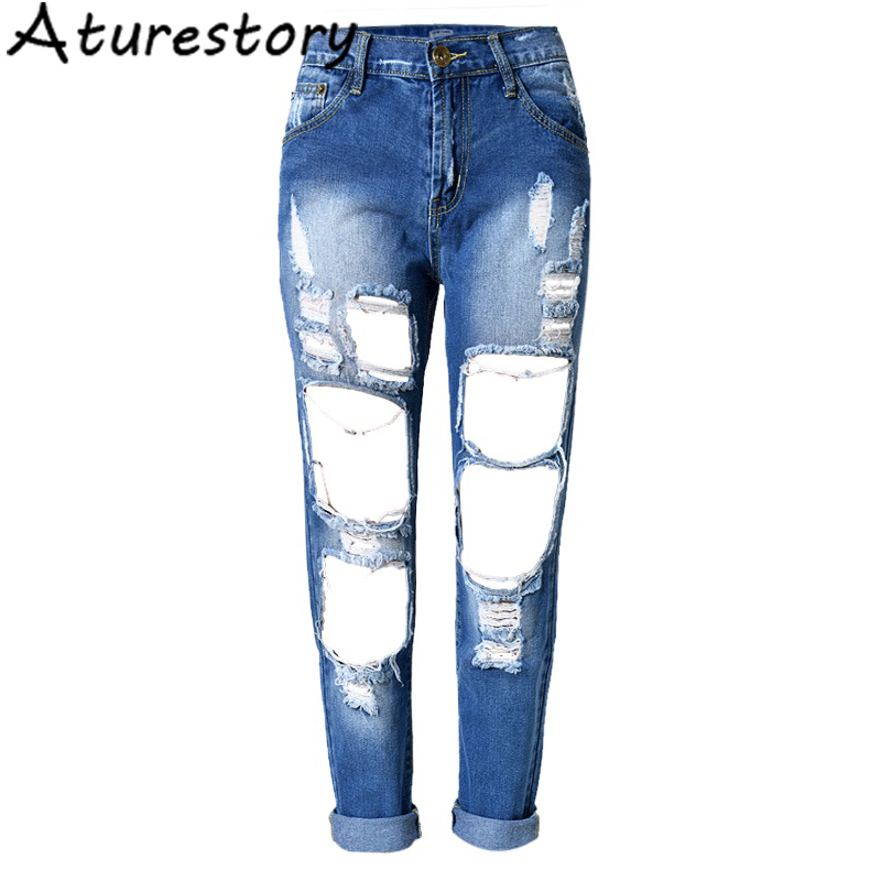Aturestory Women Denim Pants Ladies Ankle Length Zipper Fly High Waist Loose Straight Boyfriend Jeans Vintage Ripped With Hole summer casual women jeans high waist big hole ankle length ripped loose straight pants women denim trousers edge curl vintage