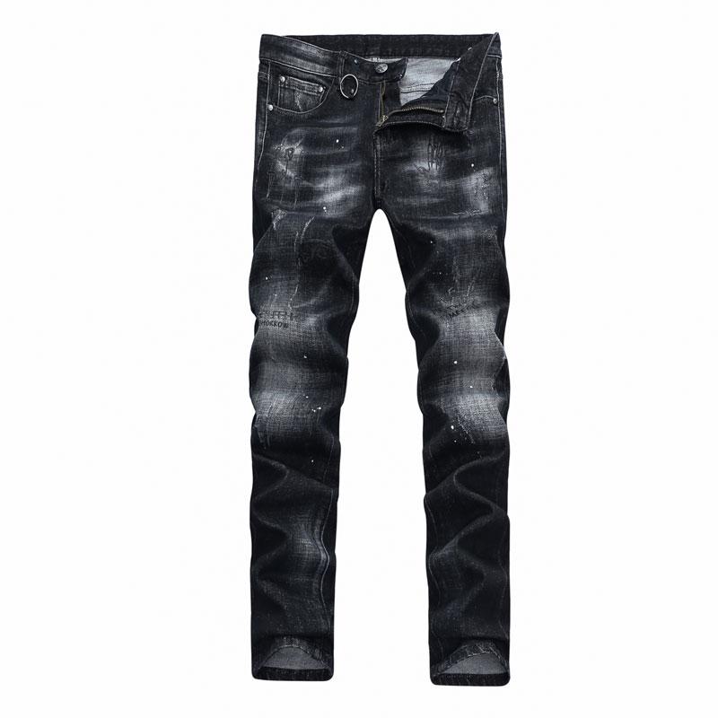 2017 Newly Autumn Winter Fashion Mens Jeans Black Color Narrow Skinny Denim Ripped Jeans Balplein Brand Stretch Biker Jeans Men