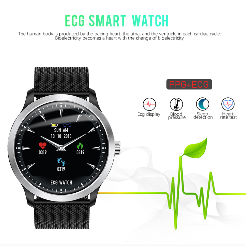 lemfo 2019 ecg + ppg smart watch for men with heart rate monitor blood pressure monitor and ip67 waterproof
