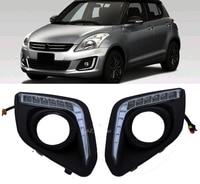 2x White 12V LED Car DRL Daytime Running Lights With Fog Lamp Hole For For Suzuki