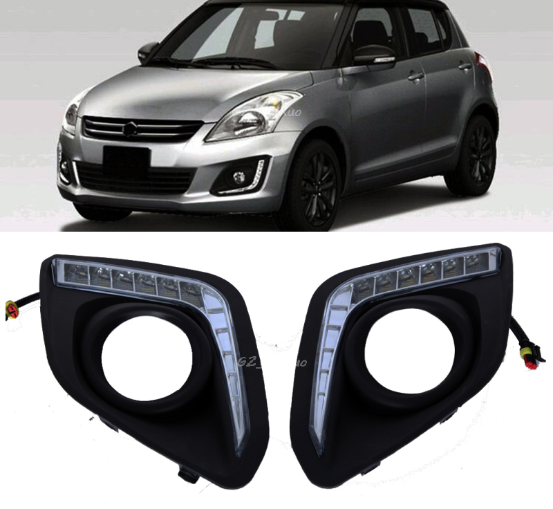 2x White 12V LED Car DRL daytime running lights with fog lamp hole for For Suzuki Swift 2014 2015 2016 new dimming style relay waterproof 12v led car light drl daytime running lights with fog lamp hole for mitsubishi asx 2013 2014