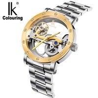 IK Marca de Fábrica Superior de Lujo Auto de Viento Automático de Los Hombres Mecánicos del reloj de Oro Rosa Caso Genuino Cuero Skeleton reloj relogio masculino