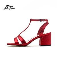 STARFARM Women T Strap Heel Sandals Black Red Silver 6cm Heel