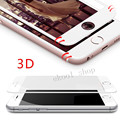 Blanco protector de pantalla para iphone 6 6 s plus/7 7 plus Borde Curvo de Vidrio templado de La Cubierta Completa 3D Película Protectora Completa cobertura