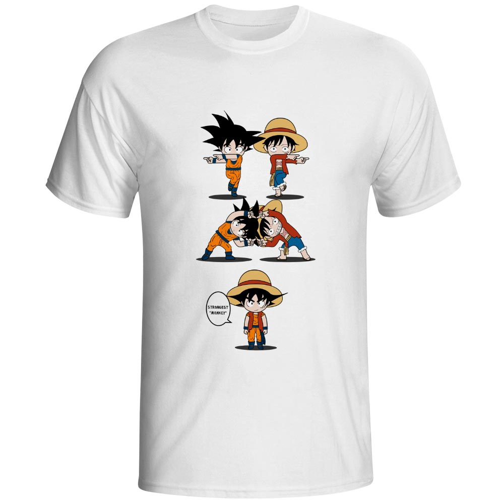 Monkey D Luffy VS Monkey Goku T Shirt Awesome Anime Cool Design T shirt Dragon Ball Crossover One Piece 100 Cotton Black Tee in T Shirts from Men 39 s Clothing