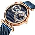 Мужские часы Топ бренд класса люкс Синий двойной дисплей спортивные часы тонкая сетка водонепроницаемые кварцевые часы наручные часы для м...