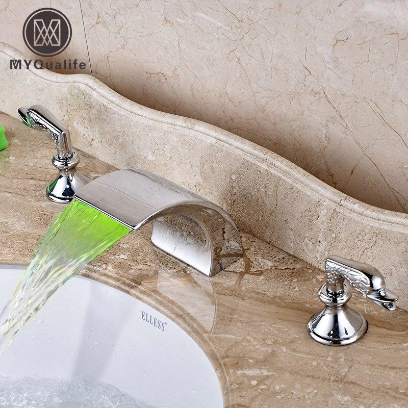 Новый Ванная комната двойной смеситель ручки Широкое бортике свет Ванная комната Водопад смесители