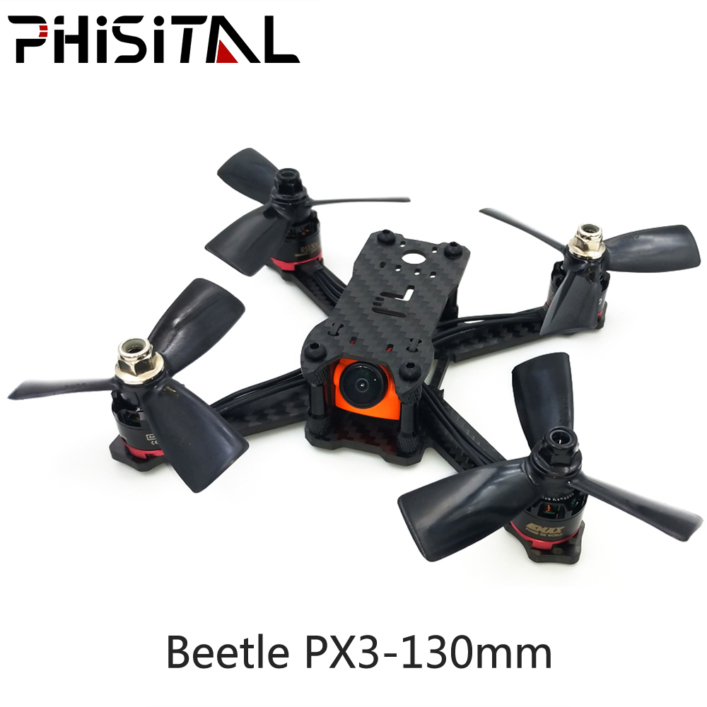 PHISITAL Beetle PX3 130mm Drone Quadcopter Carbon Fiber Frame for FPV RC Racing/3mm main plate/2.5-3 inch propeller tator rc 3k carbon fiber plate 3 5mm tl2900
