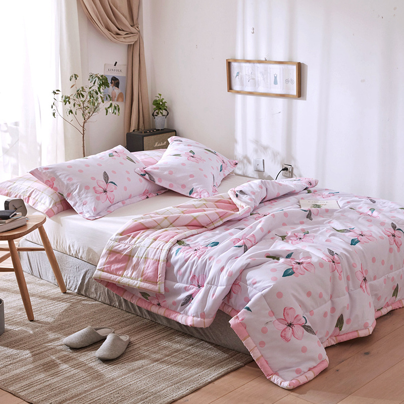 Floral Printed Summer Comforter Sets Cotton Bed Linens Pink Quilted Quilt Pillowcase Twin Full Queen Size
