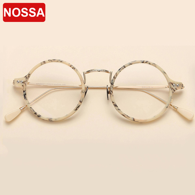 cf113fc64d8 NOSSA Retro Round Glasses Frames Trendy Women Men Myopia Optical Frame  Excellent Clear Lens Eyeglasses Vintage