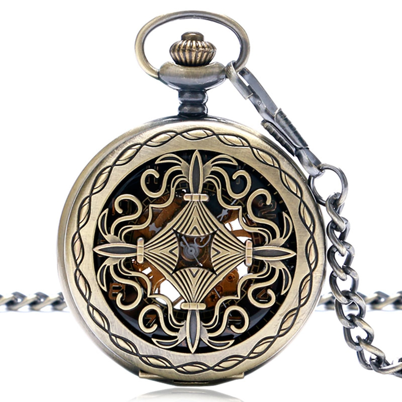 Chinese Knot Skeleton Hand Wind Mechanical Pocket Watch Vintage White Black Dial Fob Watches Men Gifts Analog Pendant Chain
