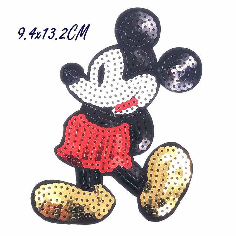 1 pcs dos desenhos animados Mickey Minnie Donald Margarida Círculo Bordado Patch Iron on Costurar Apliques de lantejoulas Sacos de Roupas Sapatos DIY Patches