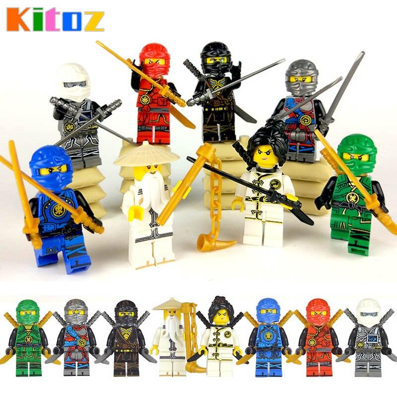 Kitoz 8pcs Ninja Spinjitzu Sensei Wu Nya Kai Jay Lloyd Cole Ninja Figure With Swords Building BLock Toy Compatible With Lego