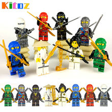 Kitoz 8pcs Ninja Spinjitzu Sensei Wu Nya Kai Jay Lloyd Cole Ninja Figure With Swords Building BLock Toy Compatible with lego(China)