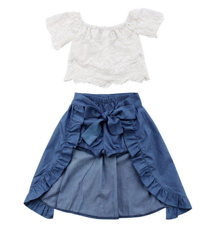 3PCS Baby Girl Clothes Sets Lace Off-Shoulder T-shirt Tops Skirts Shorts Bowknot Denim Summer Party Clothes Set Child 1-6T light blue lace details off shoulder hollow t shirt