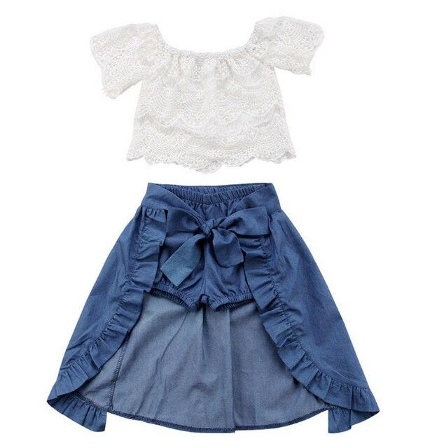 56c50057c2 3PCS Baby Girl Clothes Sets Lace Off-Shoulder T-shirt Tops Skirts Shorts  Bowknot Denim Summer Party Clothes Set Child 1-6T