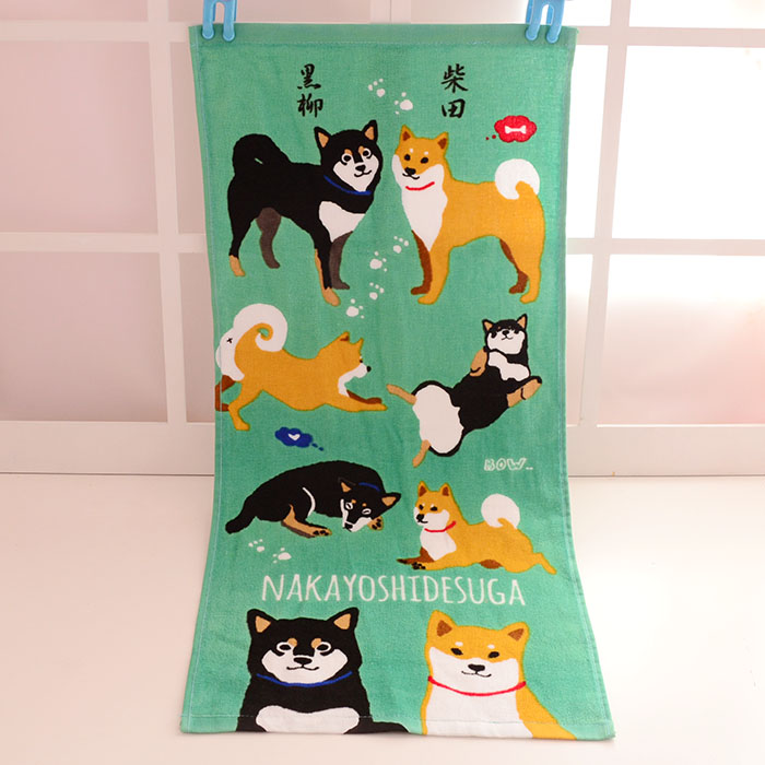 Japan Anime Shiba Dog Cat Baby Handkerchief Square Pocket Hanky Nursing Toweling Printed Cotton Towels Microfibra Towel 35x75cm