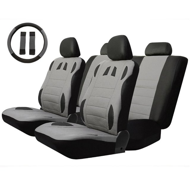 13pcs Breathable to Keep Cool Universal Car Seat Cover Set Four Seasons Auto Cushion Interior Accessories Steering Wheel Wrap
