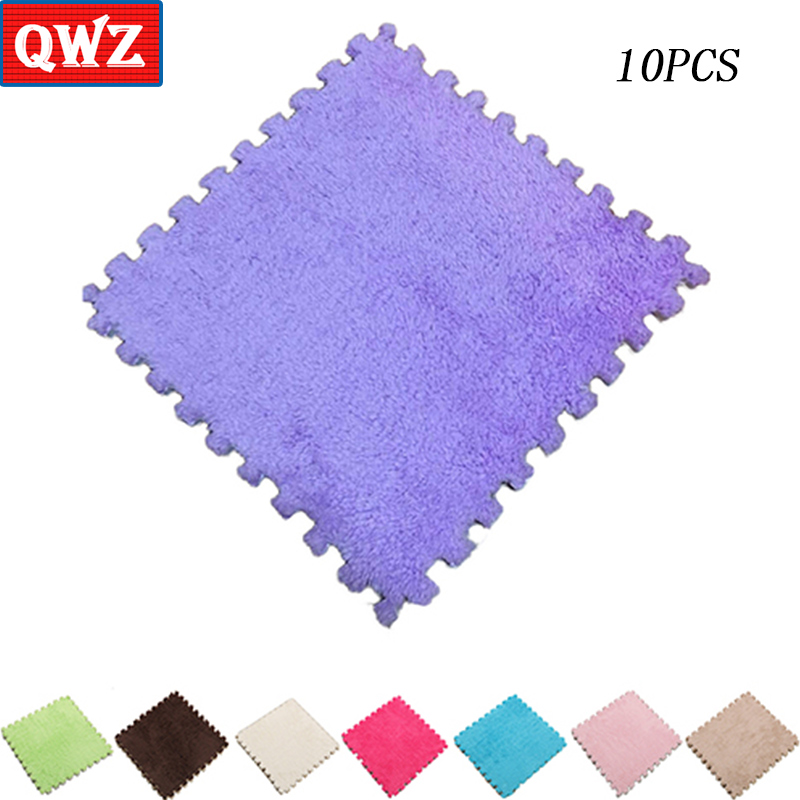 QWZ 30*30CM Living Room Children Soft Patchwork Suede Mat Carpet Magic Jigsaw Splice Puzzle Climbing Baby Mat Play Game Rug
