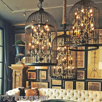 American Country Vintage Clothing Store Restaurant Birdcage Crystal Birdcage Chandeliers Villa Staircase
