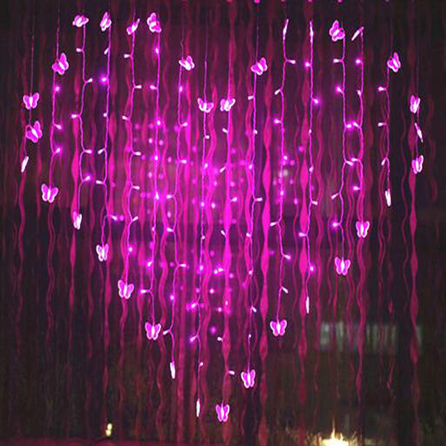 25m novelty butterfly led strings lights curtain wedding hotel valentines day holiday lightings luces home
