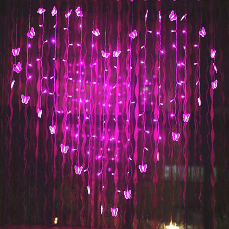YIYANG 2.5M Novelty Butterfly LED Strings Lights Curtain Wedding Valentines Day Holiday Lightings Luces Home and Garden Lights ...