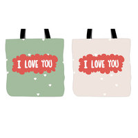 I LOVE YOU Printed Tote Bags Two Pieces Double Sided Printing Green And Pink Handle Shopping Canvas Bag For Couple Lovers