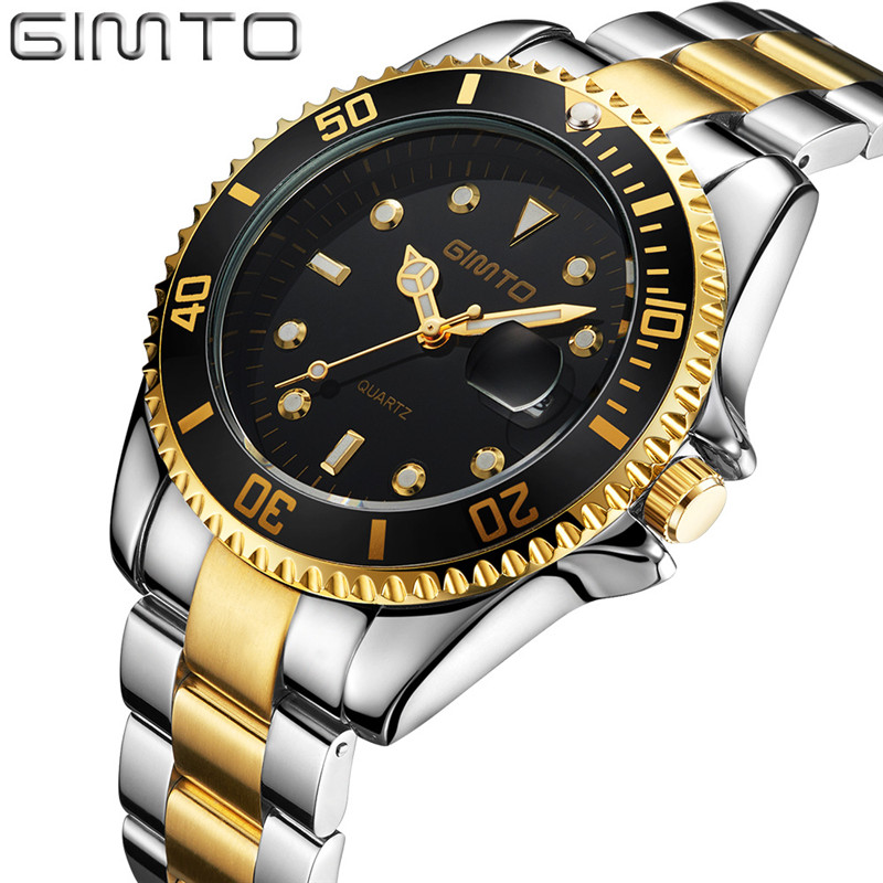 GIMTO Brand Role Luxury Watch Men Stainless Steel Quartz Watch Casual Men's Wristwatch New Fashion Male Clock 2017 Reloj Hombre new arrival 2015 brand quartz men casual watches v6 wristwatch stainless steel clock fashion hours affordable gift