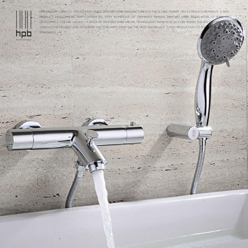 HPB Brass Thermostatic Faucet Bathroom Shower Faucets Wall Mounted Bathtub Mixer Bath Set torneira banheiro chuveiro HP5201 us bathroom shower faucet wall mounted bath shower mixer tap 52004 torneira do chuveiro with hand shower rain shower faucet