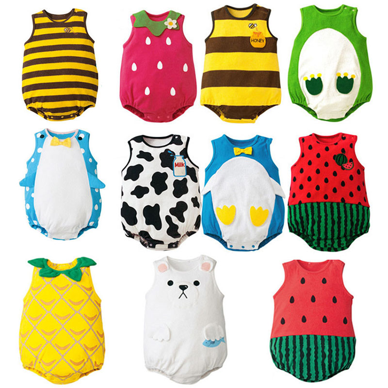 Free Shipping Cute New born Baby Girl Clothes Cartoon Fruit Rompers Cotton Sleeveless Button Onesie Baby Boy Summer Clothes LT11