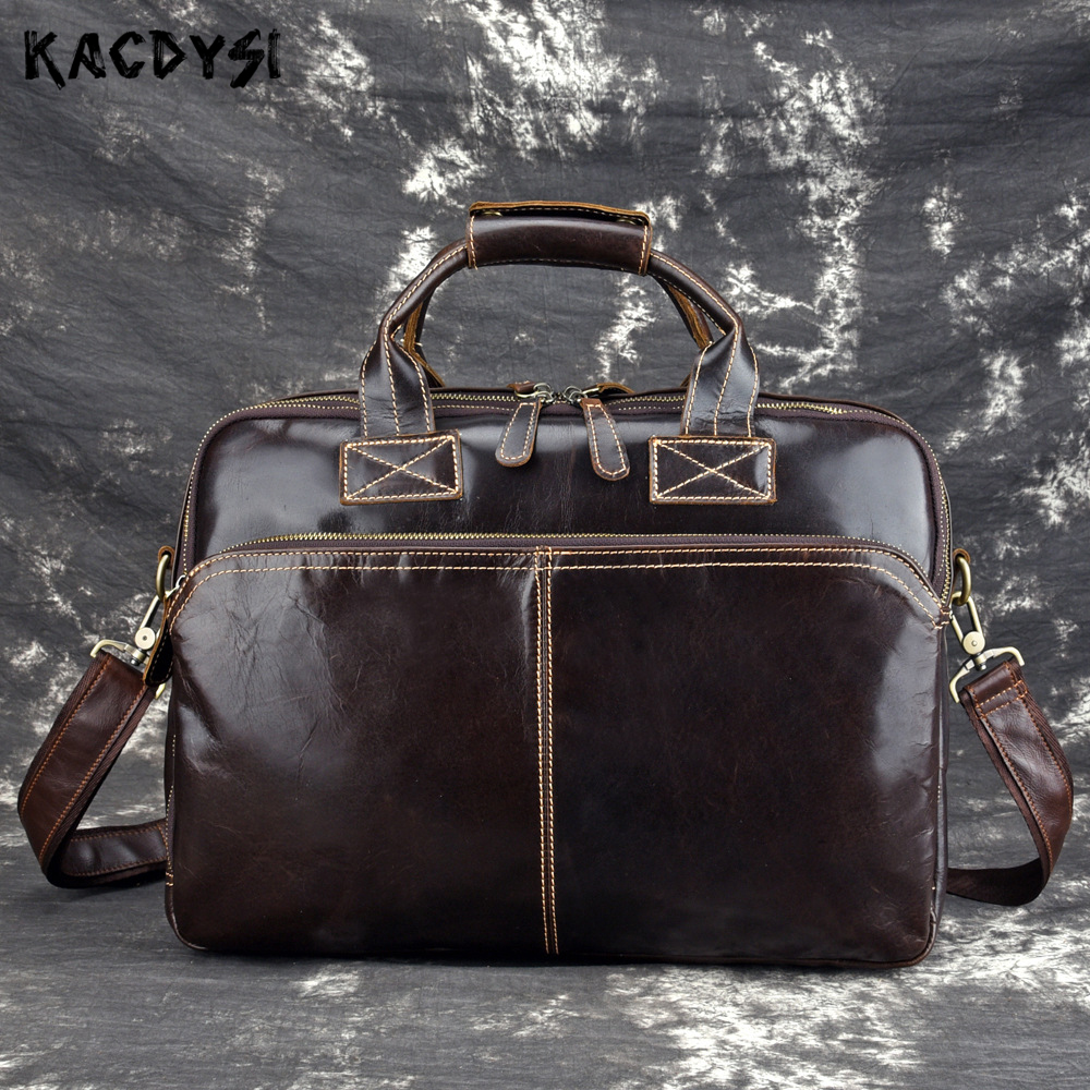 Öl Original Pack Laptop Handtasche Leder Vintage Tasche Männer Business Schulter Coffee Wachs Aktentasche Männlichen Weichen Multifunktionale Kreuz xwAfrHIw