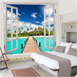 Обои для фото высокого качества 3d обои природа пляж вид на океан окно голубое небо облака Большие Настенные обои