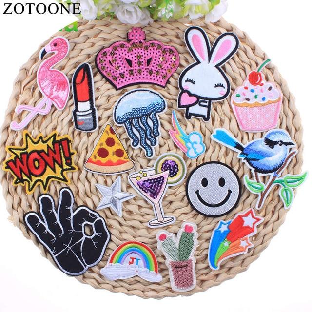 Zotoone Lips Bird Emoji Flamingo Crown Patch Cactus Cheap Embroidery