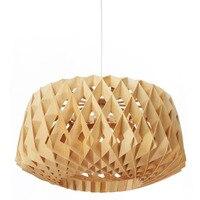 Modern Retro wood woven wooden birdcage chandelier Nordic style restaurant room lamp Handmade Wood LED Hanging Lighting Light