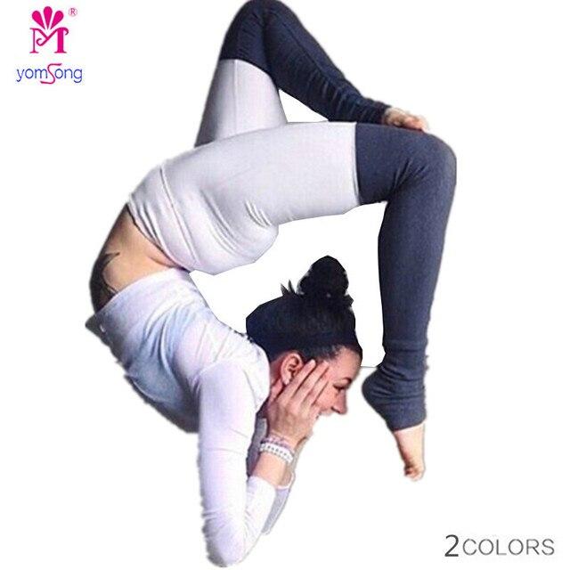 Yomsong 2016 New Women's  Leggings Splicing Leggings Color Fitness Leggings Buttocks Leggings Slim Breathable 1041