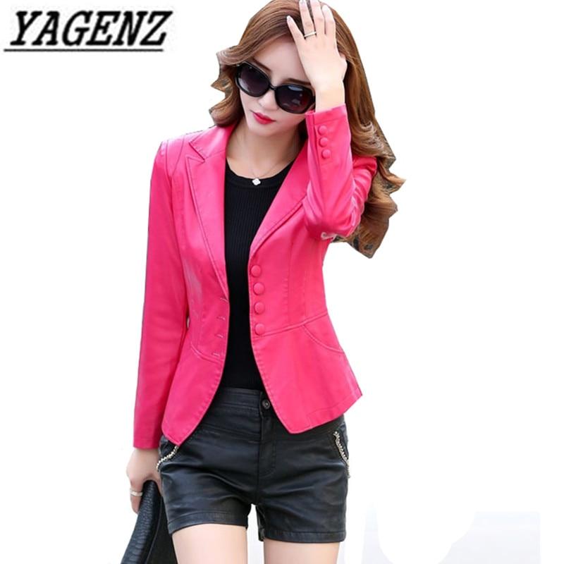 2018 Women PU Leather Jacket Blazer Fashion Slim Long sleeve Elegant Female Coat Big size 4XL