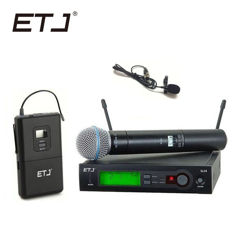 ETJ Brand SLX24/BETA58 58A UHF Professional Wireless Microphone System Handheld Lavalier Microphone zmvp uhf professional slx24 beta58 wireless microphone cordless slx karaoke system with handheld transmitter band r5 800 820mhz
