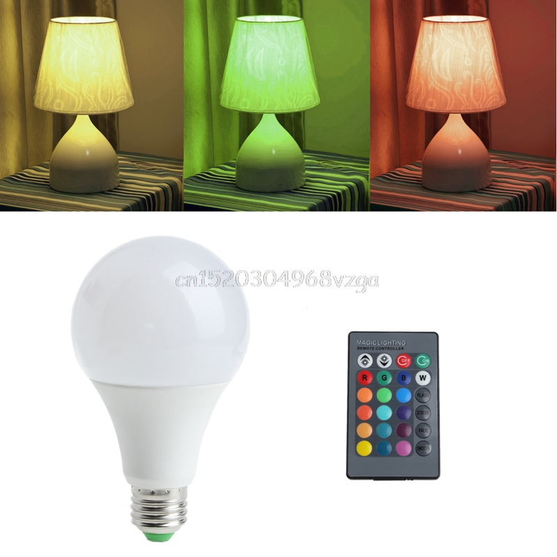 Light Bulb 16 Colors Wireless Remote Control 85-265V E27 LED 20W RGB Changing Light Bulb #H028# jr led e27 10w 500lm led rgb light bulb w remote control white silver ac 85 265v