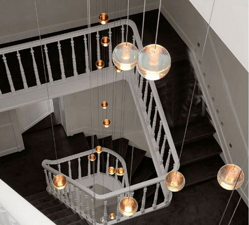 G4 LED Crystal Glass Ball Pendant light AC110V 220V AC12V100mm diameter lamp Restaurant stair bar cafes