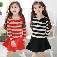 Autumn Winter Dress Girl Long Sleeve Bow Stripe Princess Girls School Dresses Polka Dot Toddler Girls