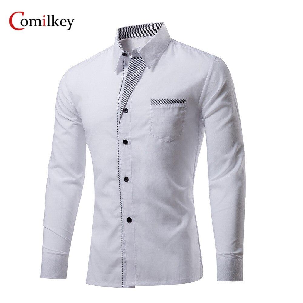 브랜드 의류 남성용 공식적인 비즈니스 셔츠 슬림 긴팔 남성 셔츠 캐주얼 Camisa Social Masculina 남성 셔츠 Chemise Homme