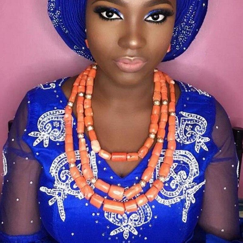 где купить URORU Bridal Jewelry Set Women 3 Layers Nigerian Wedding Coral Beads Jewelry Set Bracelet Necklace and Earrings Set Free Ship дешево