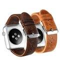 2 color de banda correa de cuero y cierre de acero inoxidable clásico para apple watch 38mm/42mm correa de reloj
