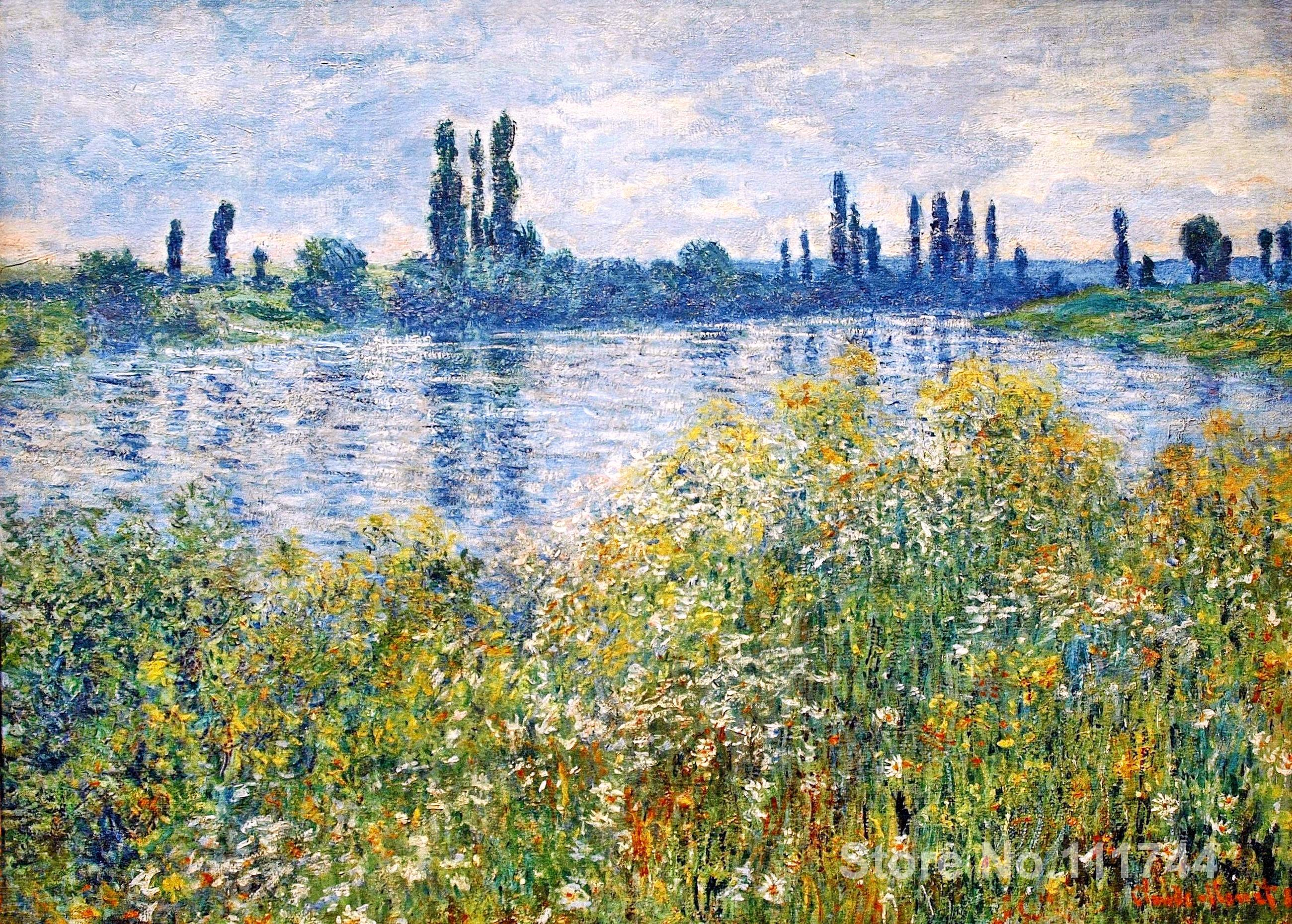Copy Oil Paintings Famous Artist Flowers On The Banks Seine Near Vetheuil Claude Monet Artwork Handmade For Home Wall Decoration In Painting Calligraphy