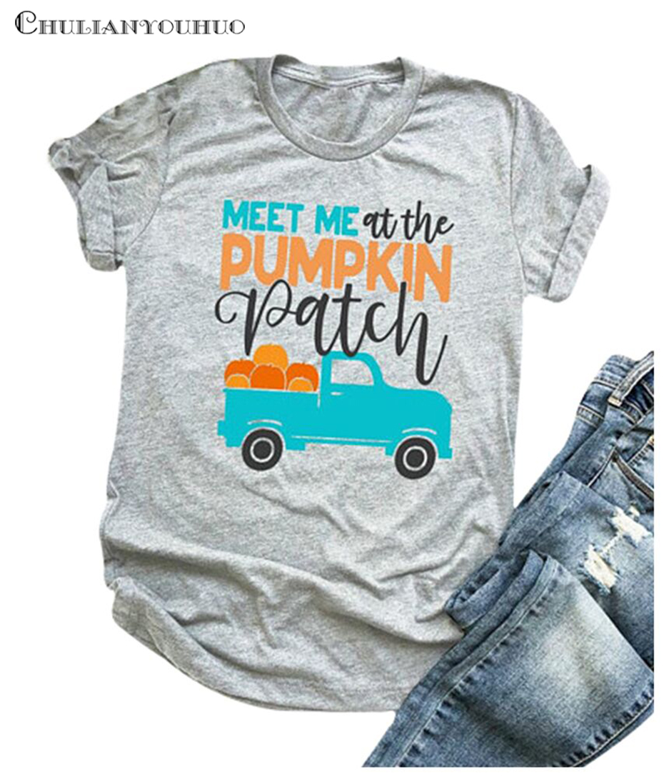 New Holloween Pumpkin Shirt Top Women Female Clothing 2018 Oversized Cotton Funny T Shirt Vogue Tees Festival Clothing Shirt Top