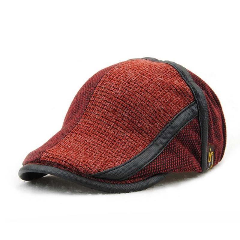 b09624244 New Fashion Winter Men Berets Kniing Warm Patchwork Hats Flat Duckbill Cap  Spring Autumn Adjustable Peaked Bone
