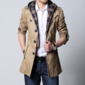 2017 Fashion outwear long coat men trench puls size 5XL male clothing slim fit black and khaki Free shipping
