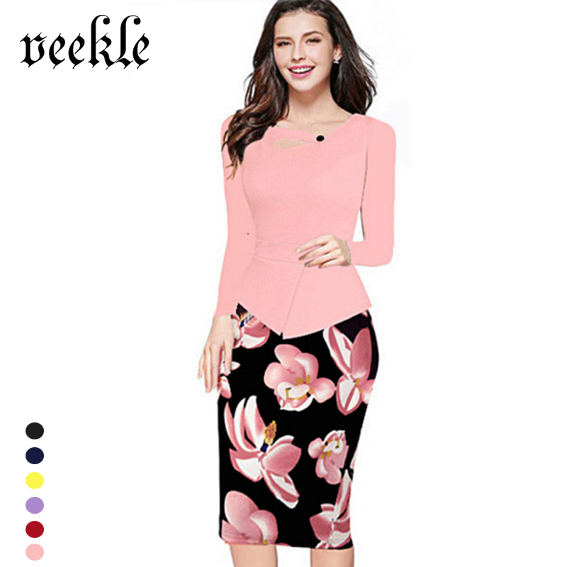 VEEKLE Women Summer Autumn Casual Bodycon Party Floral Print Red Pink Peplum Pencil Office Dress Work Long Sleeve Plus Size 5XL