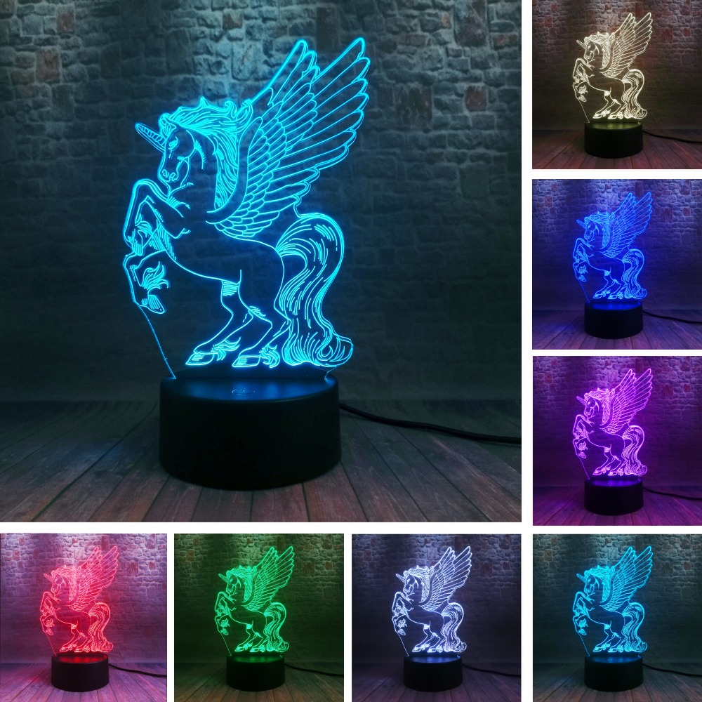 Amroe Flying Unicorn Big Wings 3D LED Night Light Cartoon Party Lamp 7 Color Change Baby Bedroom Beside Decor Child Xmas Gifts
